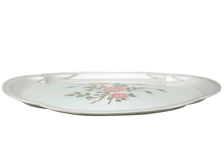 British 1971 Sterling Silver and Enamel Dressing Table Tray For Sale