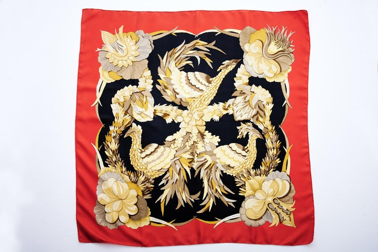 Designed by Caty Latham for Hermès in 1971, this rare and popular silk twill