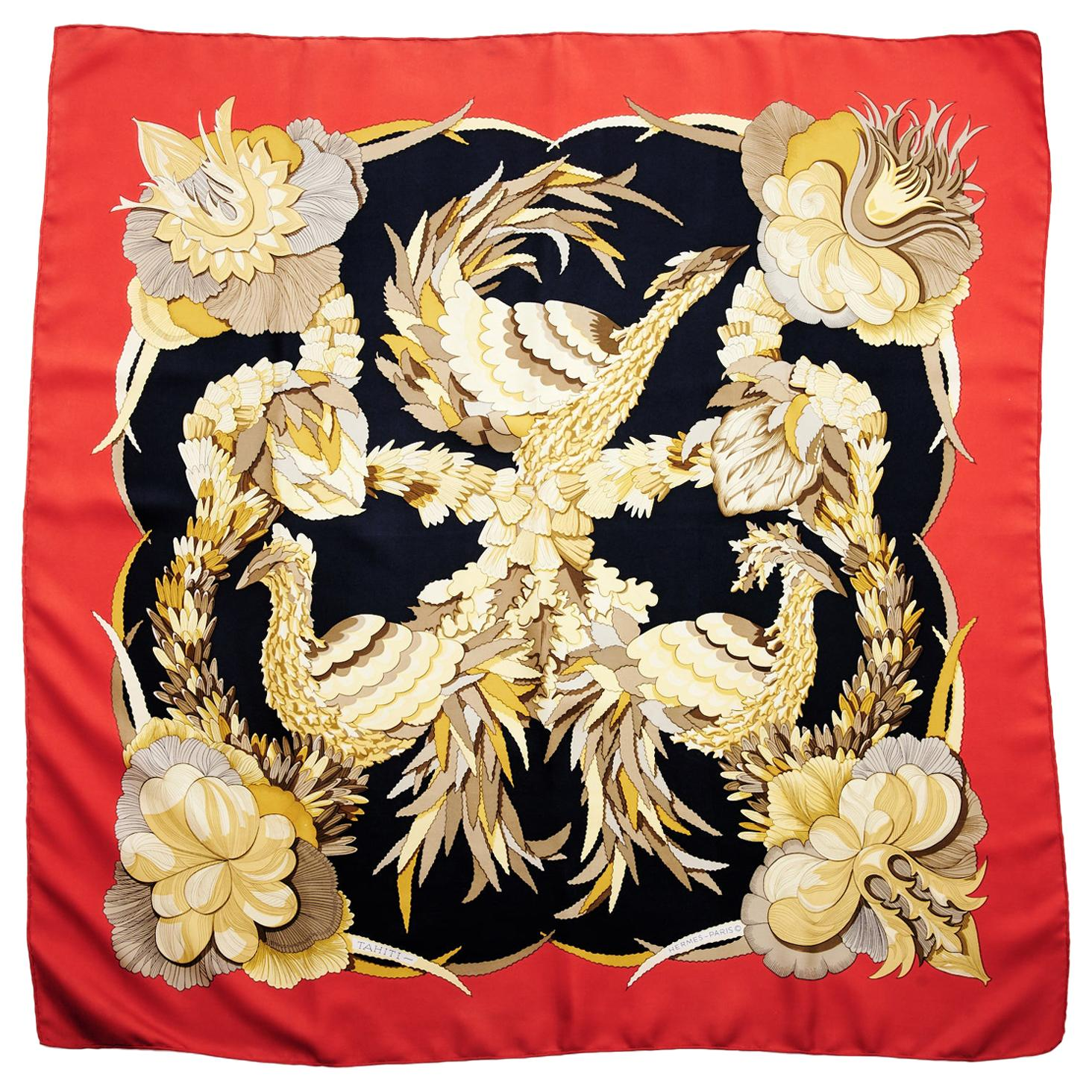"""1971 """"Tahiti"""" Silk Twill Carre Scarf"""