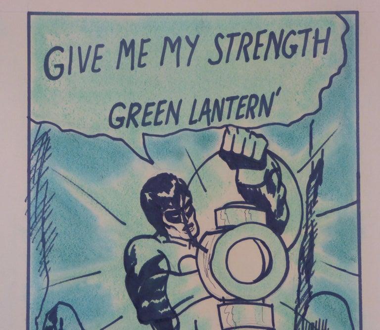 American 1971 the Green Lantern DC Comics Superhero Large Painting For Sale