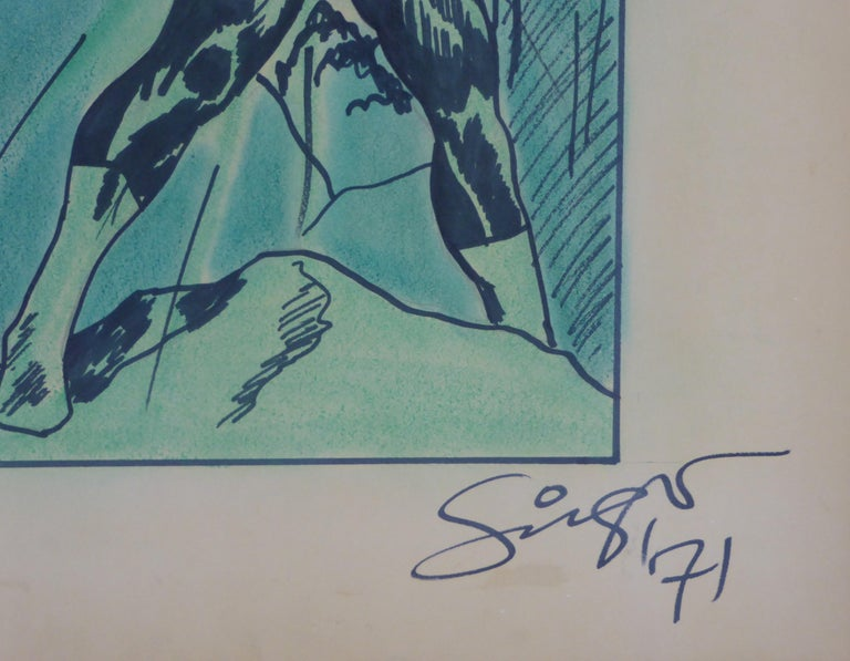 1971 the Green Lantern DC Comics Superhero Large Painting For Sale 2