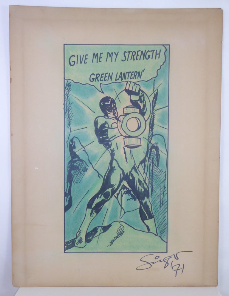 1971 the Green Lantern DC Comics Superhero Large Painting For Sale 3