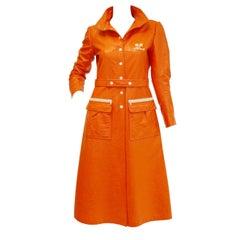 1972 André Courrèges  Safety Orange Vinyl Mod Coat