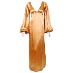 1972 Biba Copper Satin Low-Cut Plunge Billow Sleeve Back Belted Maxi Dress