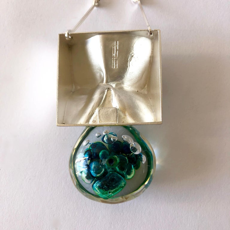 1972 Bjorn Weckstrom Lapponia Finland Sterling Silver Acrylic Big Drop Necklace In Good Condition For Sale In Los Angeles, CA