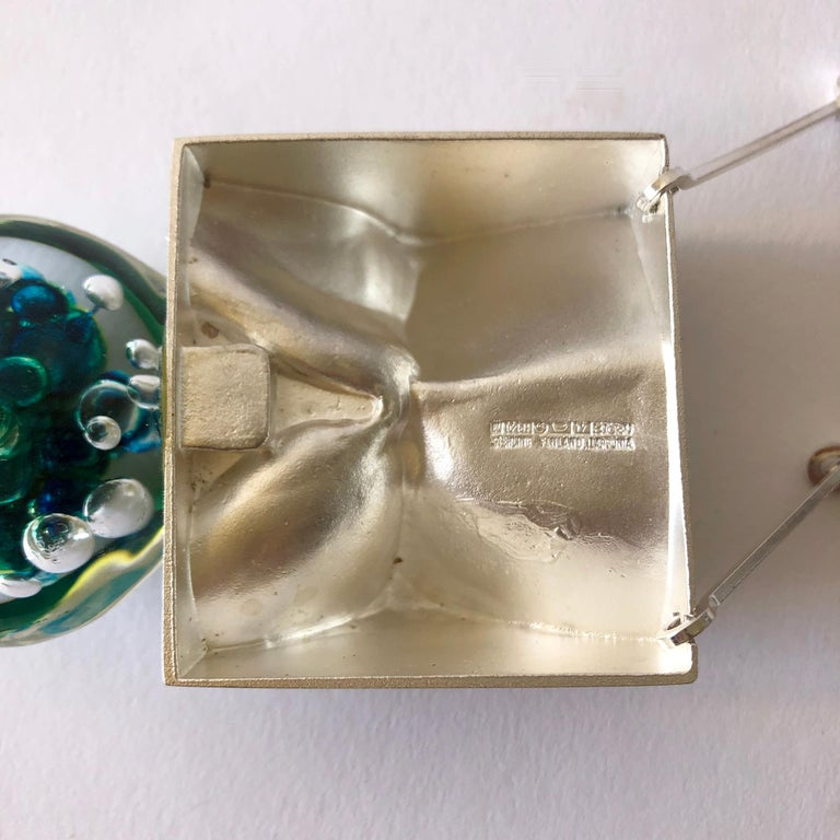 Women's 1972 Bjorn Weckstrom Lapponia Finland Sterling Silver Acrylic Big Drop Necklace For Sale