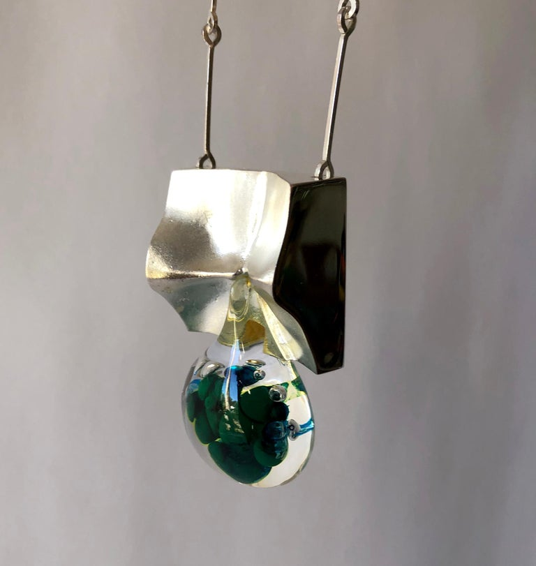 1972 Bjorn Weckstrom Lapponia Finland Sterling Silver Acrylic Big Drop Necklace For Sale 1