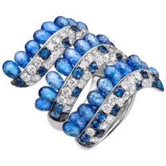 19.72 Carat Blue Sapphire Briolette Diamond 18 Karat White Gold Diamond Ring