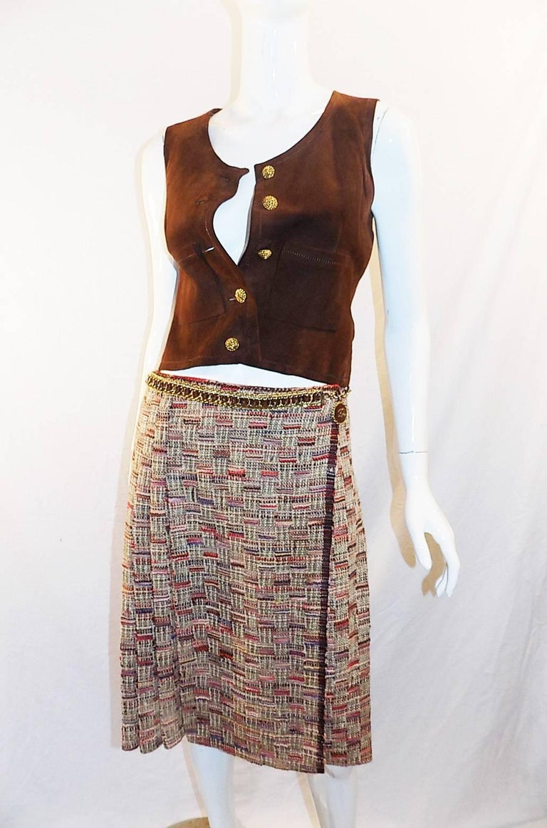 Brown Chanel Haute Couture 4 piece suit with belt from Chanel Paris boutique, 1972  For Sale