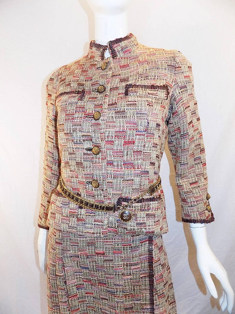 Chanel Haute Couture 4 piece suit with belt from Chanel Paris boutique, 1972  In Excellent Condition For Sale In New York, NY