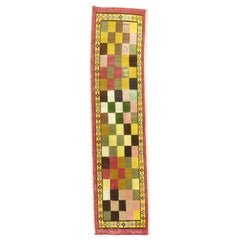 1972 Checkerboard Vintage Turkish Runner