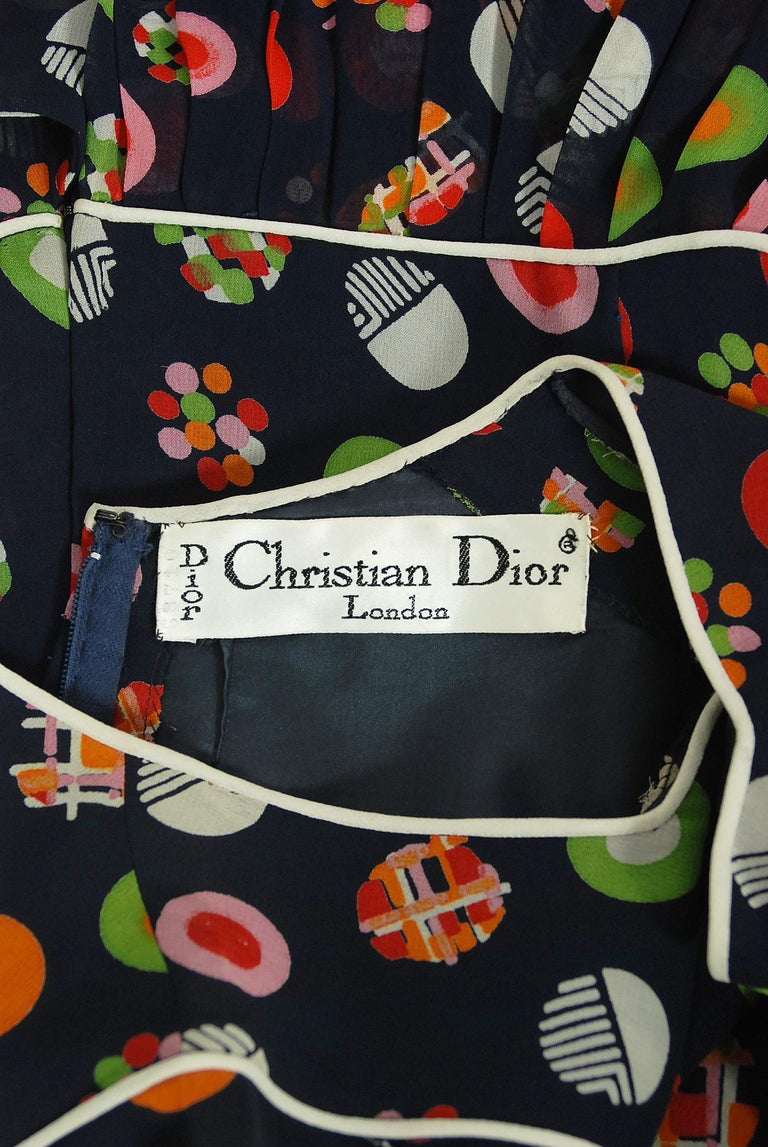 Vintage 1972 Christian Dior Couture Deco Print Silk Billow Sleeve Pleated Dress For Sale 6