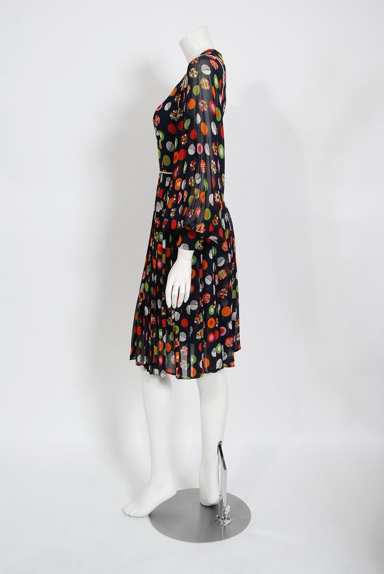 Vintage 1972 Christian Dior Couture Deco Print Silk Billow Sleeve Pleated Dress For Sale 2