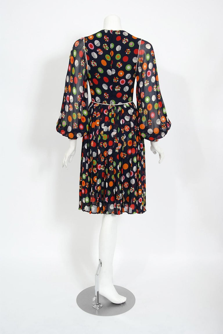 Vintage 1972 Christian Dior Couture Deco Print Silk Billow Sleeve Pleated Dress For Sale 4