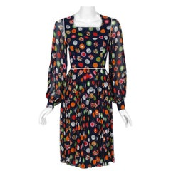 1972 Christian Dior Demi-Couture Deco Print Chiffon Billow Sleeve Pleated Dress