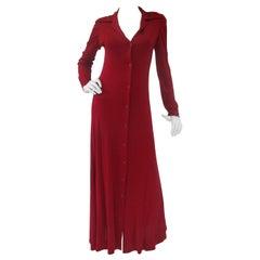 1972 Halston Red Jersey Knit  Maxi Dress