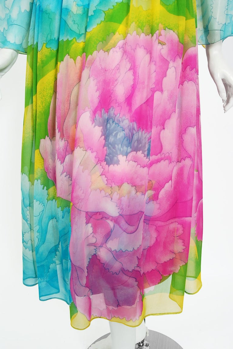Women's Vintage 1972 Hanae Mori Couture Beaded Floral Print Chiffon Angel-Sleeve Dress For Sale