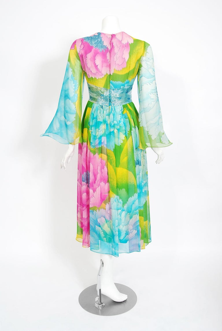 Vintage 1972 Hanae Mori Couture Beaded Floral Print Chiffon Angel-Sleeve Dress For Sale 2