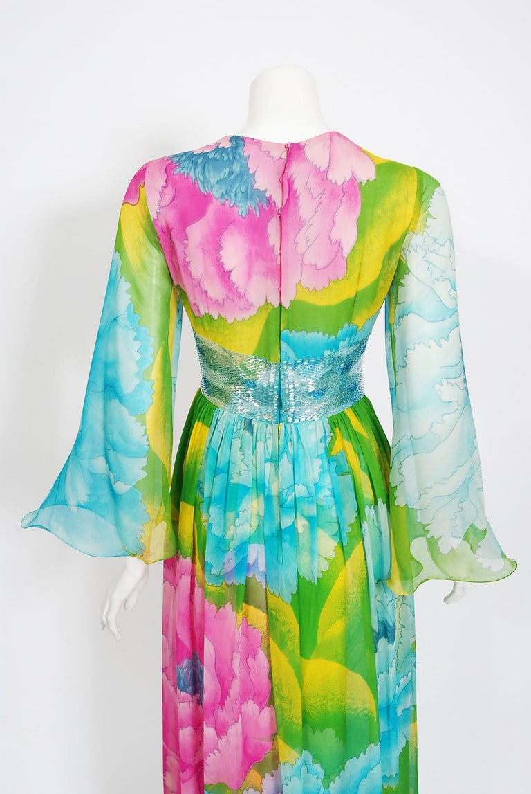 Vintage 1972 Hanae Mori Couture Beaded Floral Print Chiffon Angel-Sleeve Dress For Sale 3