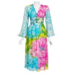 1972 Hanae Mori Couture Beaded Floral Print Silk Chiffon Angel-Sleeve Dress