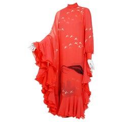 1972 Hanae Mori Couture Documented Scenic Bird Print Silk-Chiffon Caftan Dress