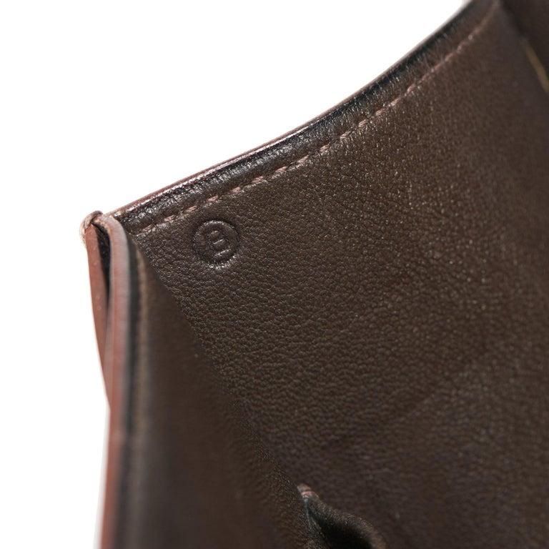 1972 Hermes Brown Box Calf Leather & Beige Canvas Vintage Ring Flap Bag For Sale 6