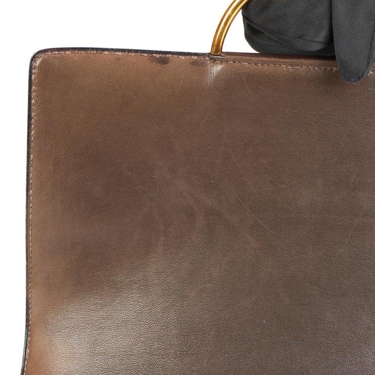 1972 Hermes Brown Box Calf Leather & Beige Canvas Vintage Ring Flap Bag For Sale 8