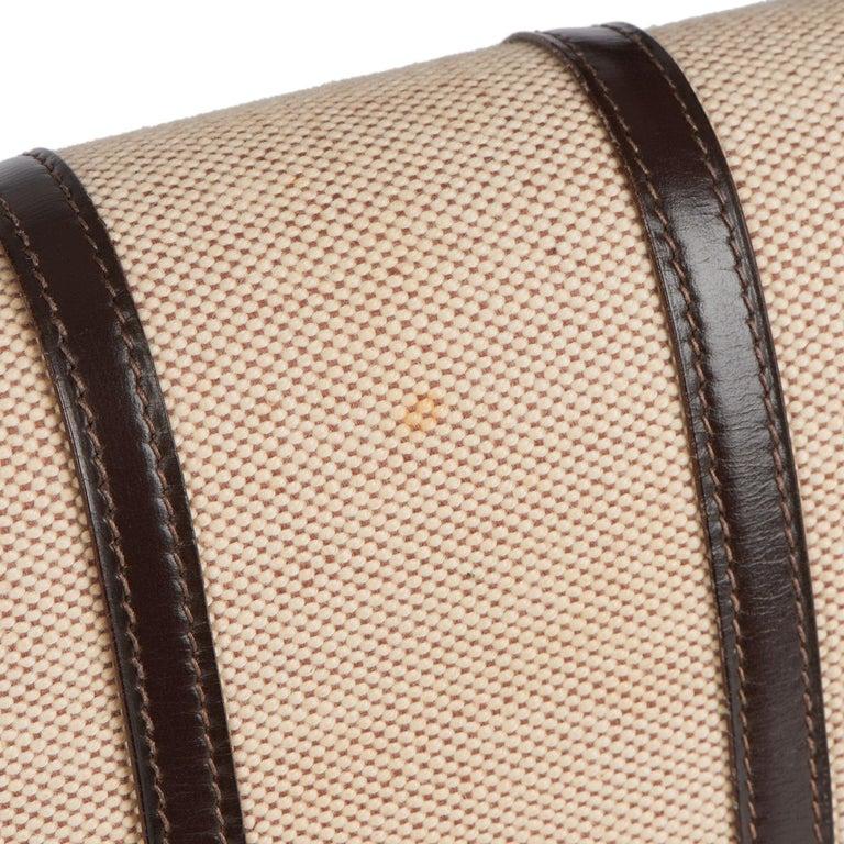 1972 Hermes Brown Box Calf Leather & Beige Canvas Vintage Ring Flap Bag For Sale 9