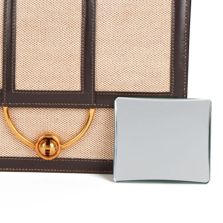 1972 Hermes Brown Box Calf Leather & Beige Canvas Vintage Ring Flap Bag For Sale 10