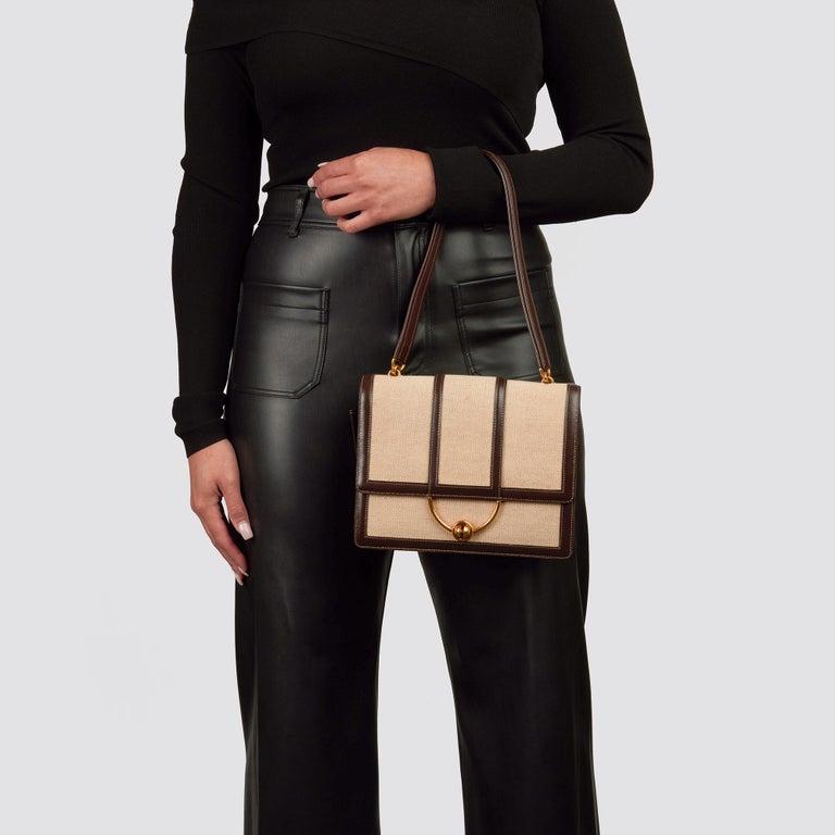 1972 Hermes Brown Box Calf Leather & Beige Canvas Vintage Ring Flap Bag For Sale 11