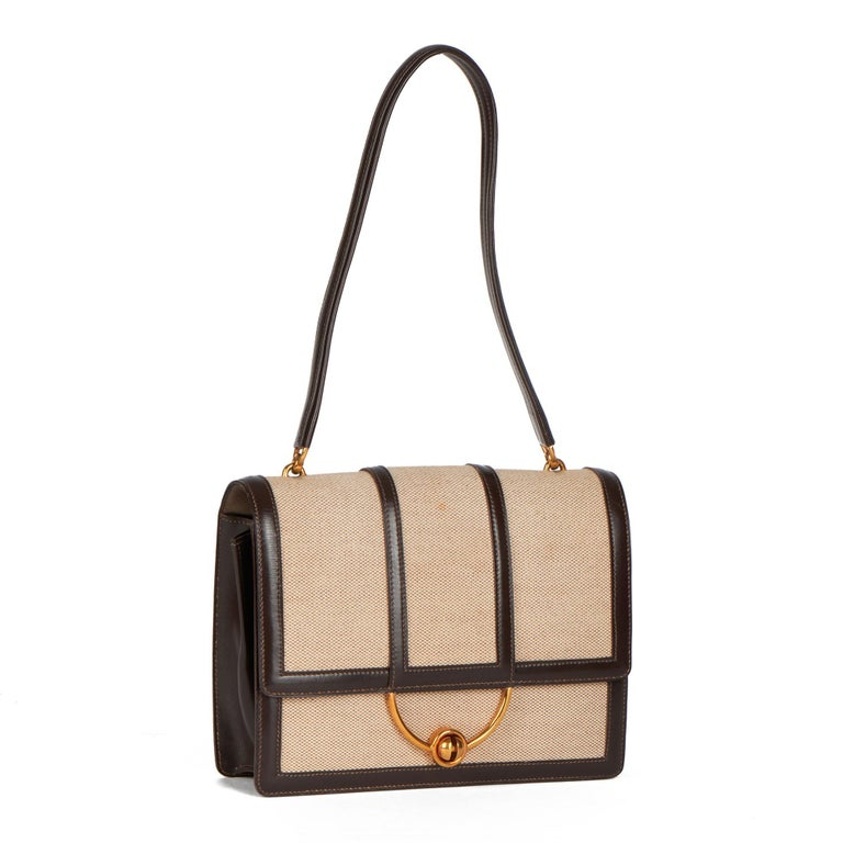 HERMÈS Brown Box Calf Leather & Beige Canvas Vintage Ring Flap Bag  Xupes Reference: CB380 Serial Number: (B) Age (Circa): 1972 Authenticity Details: Date Stamp (Made in  France) Gender: Ladies Type: Top Handle, Shoulder  Colour: Brown Hardware: