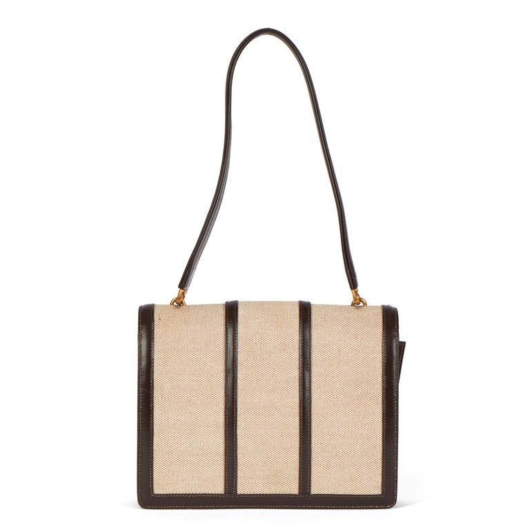 1972 Hermes Brown Box Calf Leather & Beige Canvas Vintage Ring Flap Bag For Sale 1