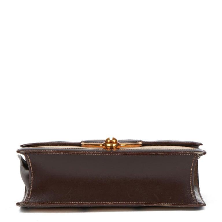 1972 Hermes Brown Box Calf Leather & Beige Canvas Vintage Ring Flap Bag For Sale 2