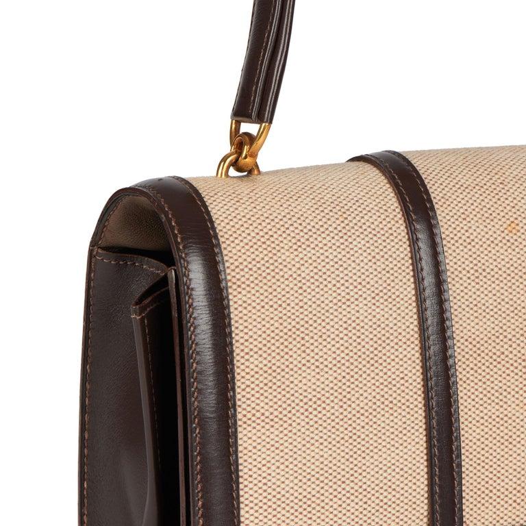 1972 Hermes Brown Box Calf Leather & Beige Canvas Vintage Ring Flap Bag For Sale 3