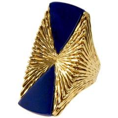 1972 Kutchinsky Lapis Lazuli and Textured Gold Ring
