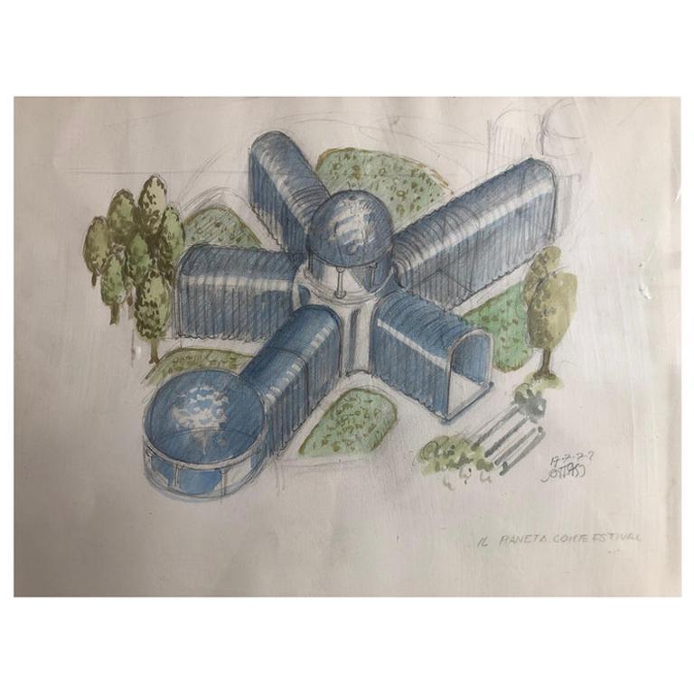 1972, Original Drawing by Ettore Sottsass