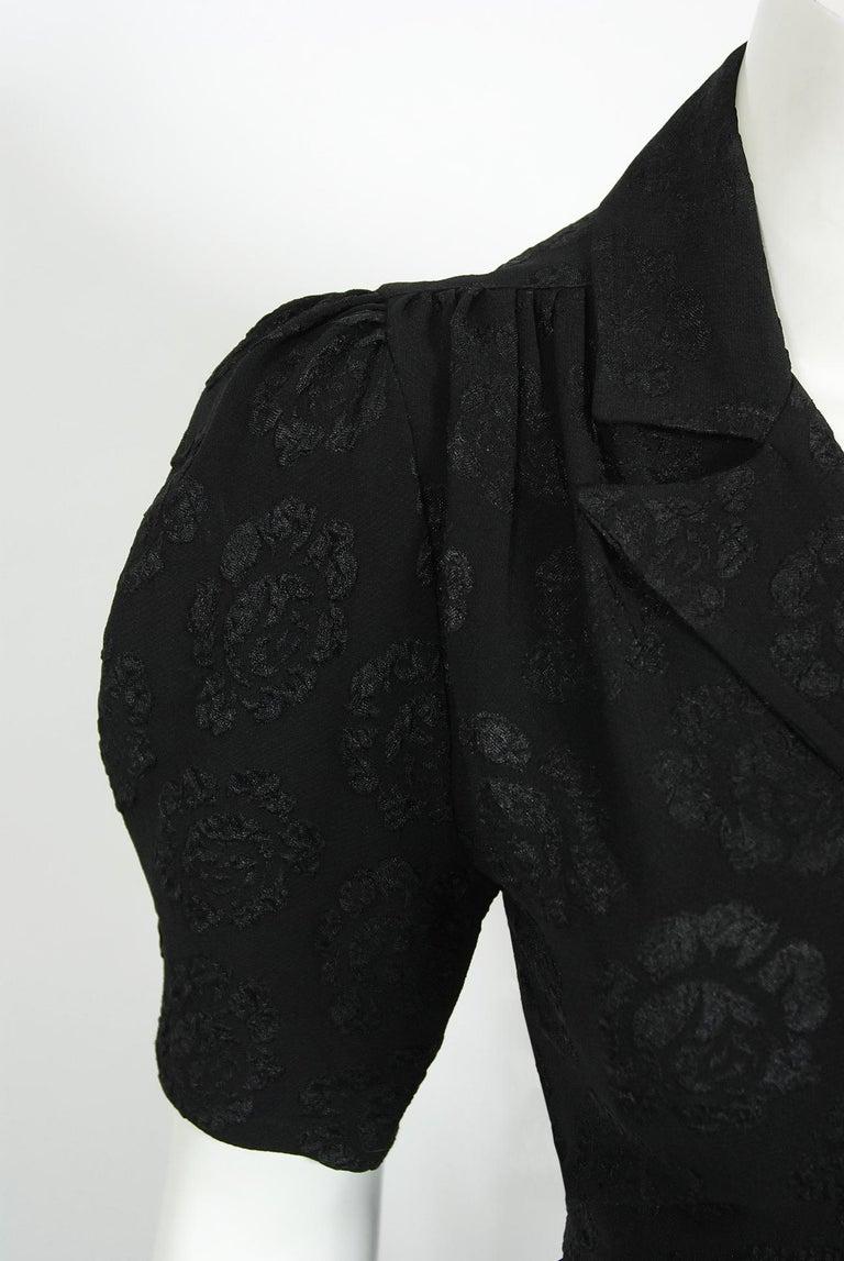 Black Vintage 1972 Ossie Clark Roses Print Crepe Puff-Sleeve Blouse & Bias-Cut Skirt For Sale