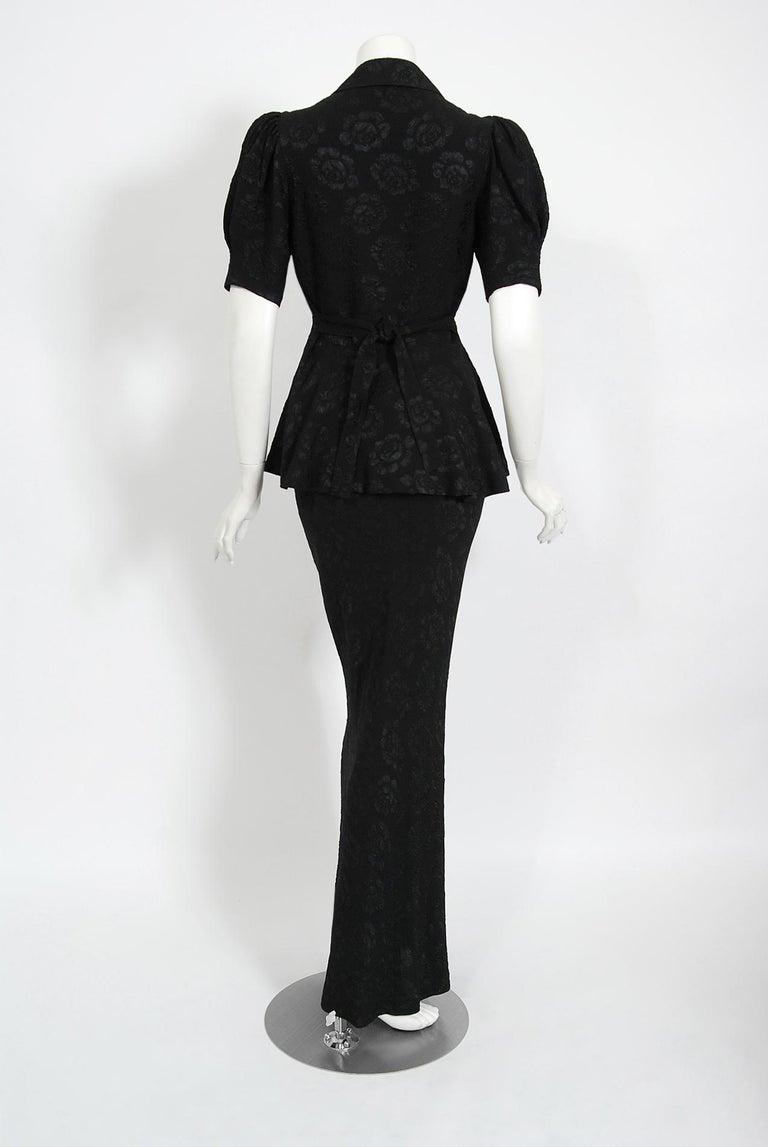 Vintage 1972 Ossie Clark Roses Print Crepe Puff-Sleeve Blouse & Bias-Cut Skirt For Sale 1