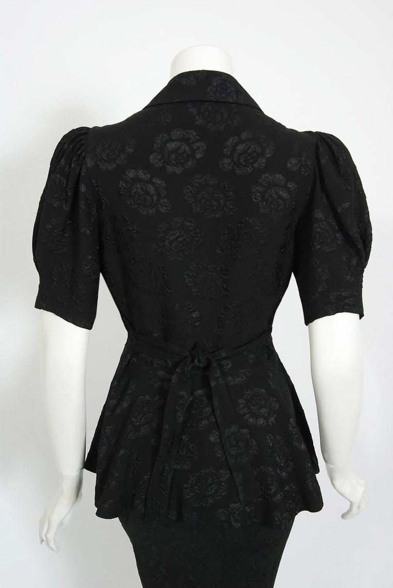 Vintage 1972 Ossie Clark Roses Print Crepe Puff-Sleeve Blouse & Bias-Cut Skirt For Sale 2