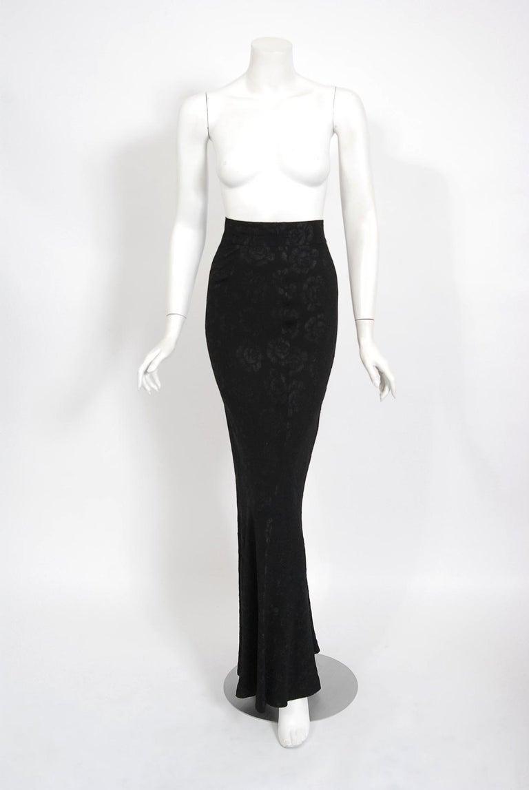Vintage 1972 Ossie Clark Roses Print Crepe Puff-Sleeve Blouse & Bias-Cut Skirt For Sale 3