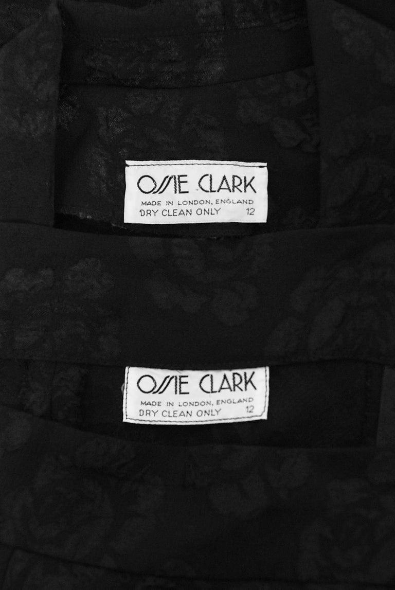 Vintage 1972 Ossie Clark Roses Print Crepe Puff-Sleeve Blouse & Bias-Cut Skirt For Sale 4