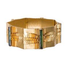 1972 Peter Heyden Green Tourmaline Gold Bracelet