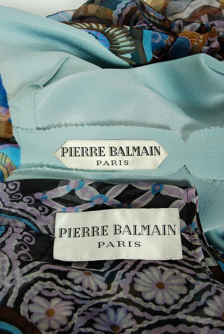 Vintage 1972 Pierre Balmain Haute-Couture Floral Silk Scarf-Neck Dress & Jacket For Sale 4
