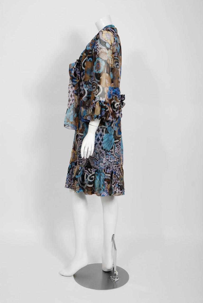 Women's Vintage 1972 Pierre Balmain Haute-Couture Floral Silk Scarf-Neck Dress & Jacket For Sale