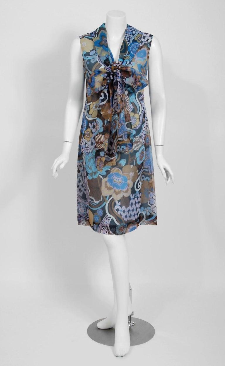 Gray Vintage 1972 Pierre Balmain Haute-Couture Floral Silk Scarf-Neck Dress & Jacket For Sale