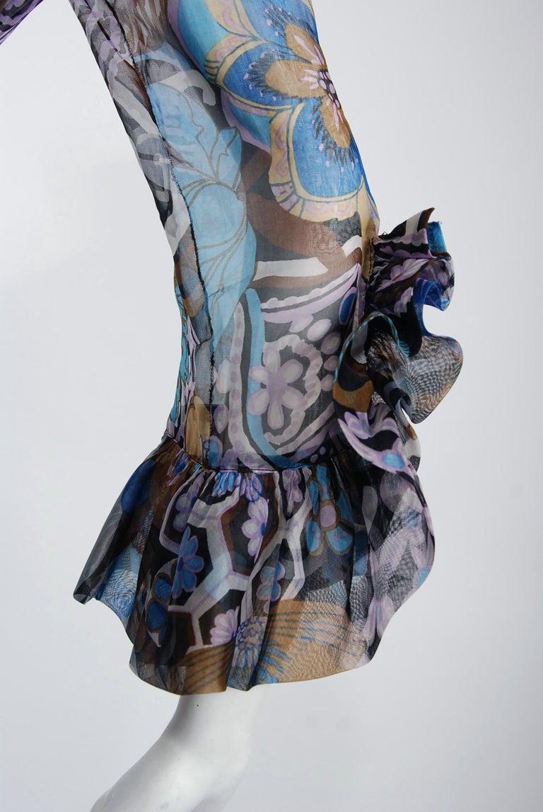 Vintage 1972 Pierre Balmain Haute-Couture Floral Silk Scarf-Neck Dress & Jacket For Sale 1