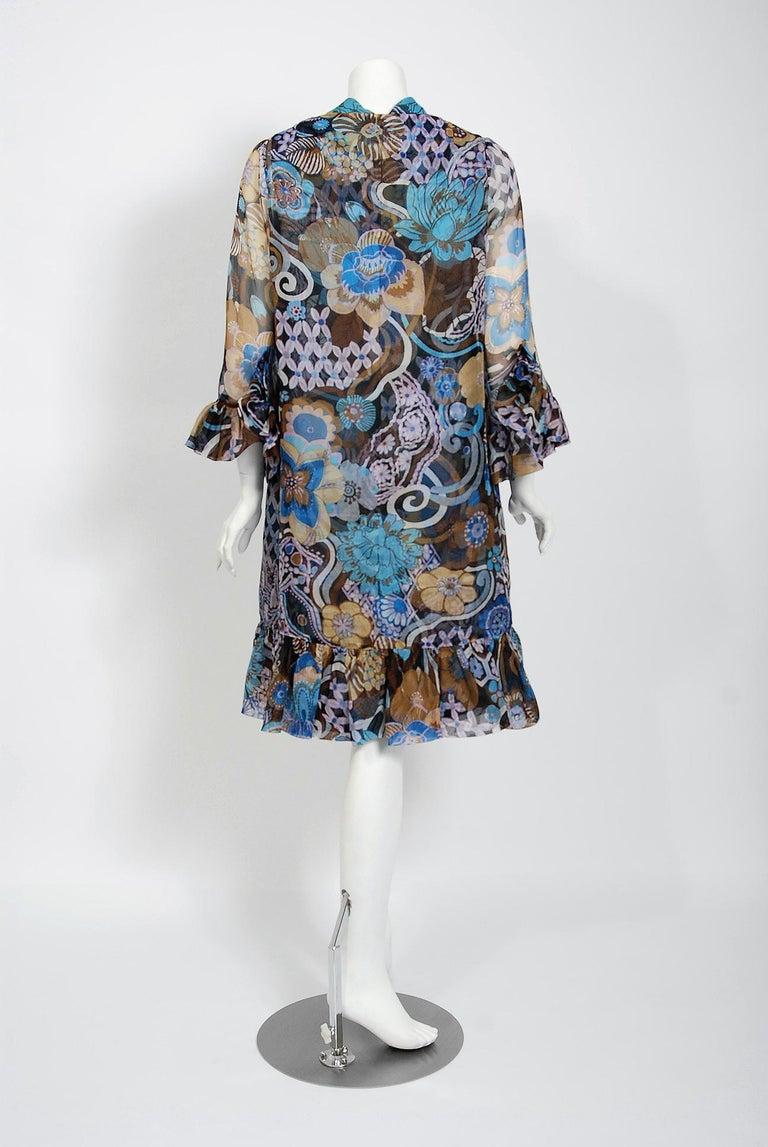 Vintage 1972 Pierre Balmain Haute-Couture Floral Silk Scarf-Neck Dress & Jacket For Sale 2
