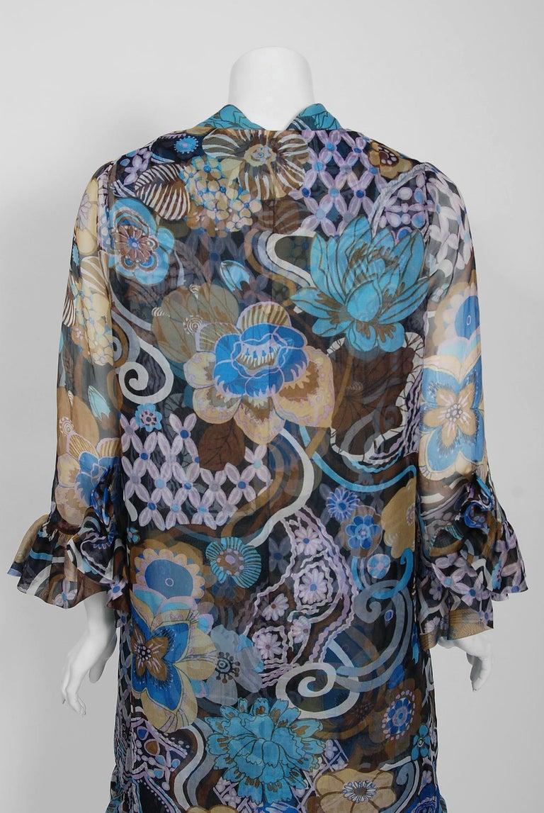 Vintage 1972 Pierre Balmain Haute-Couture Floral Silk Scarf-Neck Dress & Jacket For Sale 3
