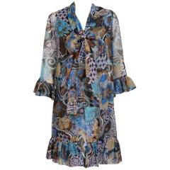 1972 Pierre Balmain Haute-Couture Floral Silk Organza Scarf-Neck Dress & Jacket