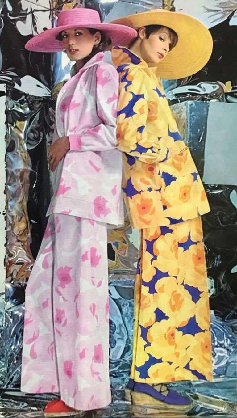Breathtaking Yves Saint Laurent designer ensemble from his 1972 documented Spring/Summer collection. Such a rarity to find both pieces together in almost unworn condition! The set is insanely chic with its large-scale yellow and purple floral print